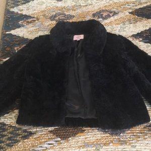Sashimi Black Faux Fur Cropped Coat 3/4 Sleeves